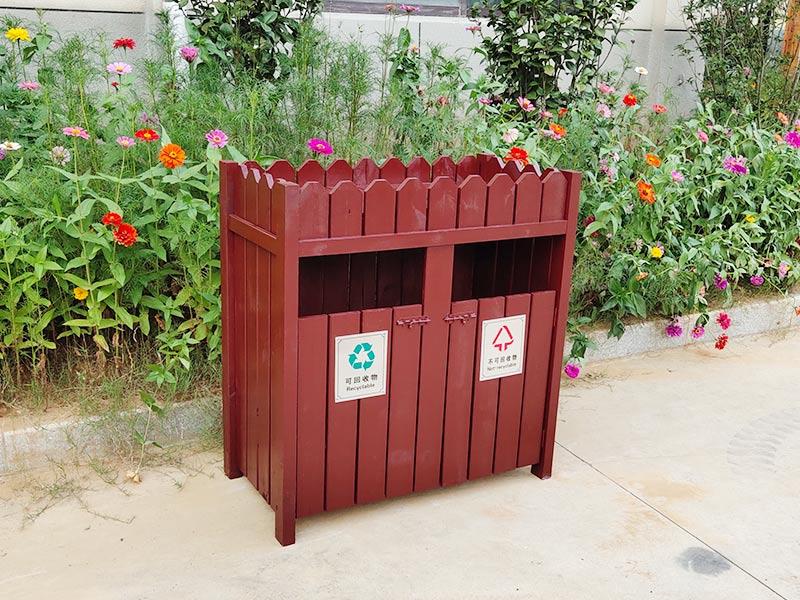 防腐木垃圾箱/花箱一体
